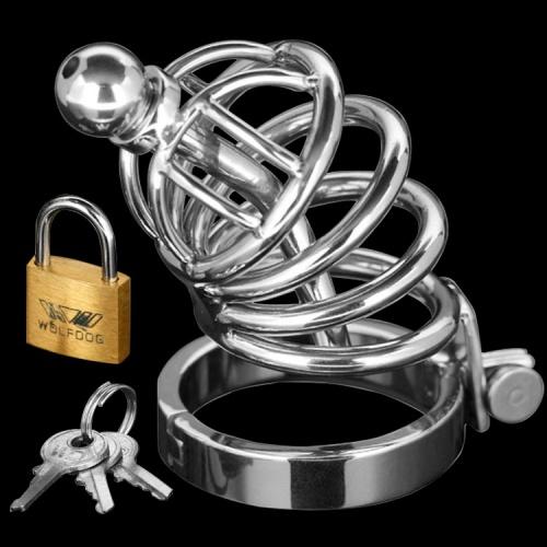 The Asylum 4 Ring Locking Chastity Cage - Xr-AD147-SM