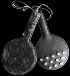 Ronde Lederen Paddle voorzien van kunstbont - os-roundpaddle