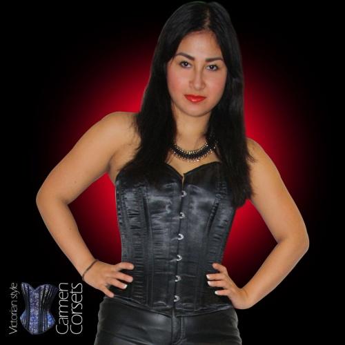 Carmen zwart satijn bovenborst corset - CAR-TX2-036-BLACK