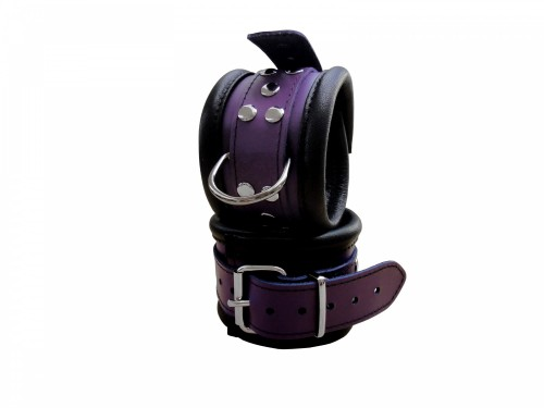 Luxury Black-Purple padded Leather wrist cuffs - os-0101-2l
