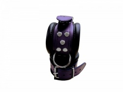 Luxury Black-Purple padded Leather Feettcuffs - os-0101-3l