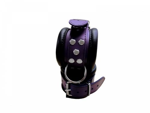 Luxury Black-Purple padded Leather Feettcuffs - os-0101-3l