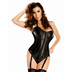 Leather Corset with garters by Ledapol - le-5835-blk