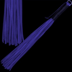 Soft nappa leather whip with 42 threads - blue - os-0148-b-42