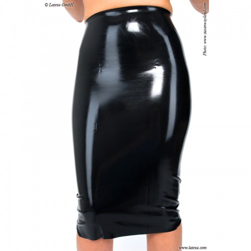 Latex Midi Skirt with Slit and Zipper by Latexa - la-1185a