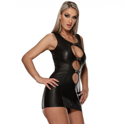 Black Leather Mini Dress 5474 - le-5474-blk
