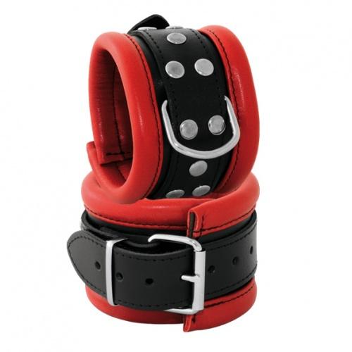 Leather Wrist Cuffs Black-Red 2.6 inch width - os-0101-2r