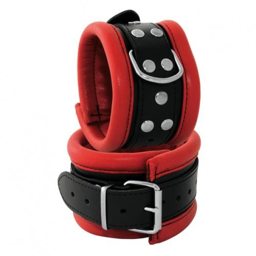 Leather Feettcuffs Black-Red 2.6 inch width - OS-0101-3R
