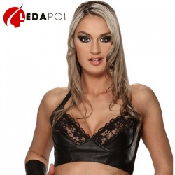 Black Leather Bra 5534 - le-5534