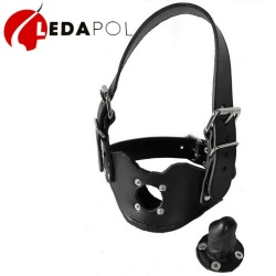 Leather Head Harness with dildo gag 8003 - Le-8003