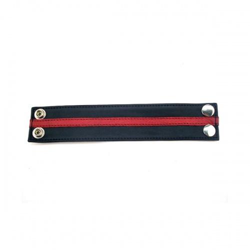 Leather Wrist Band - Black & Red  - RG-R WB1084BR