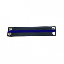 Leather Wrist Band - Black & Blue - RG-R WB1084BB
