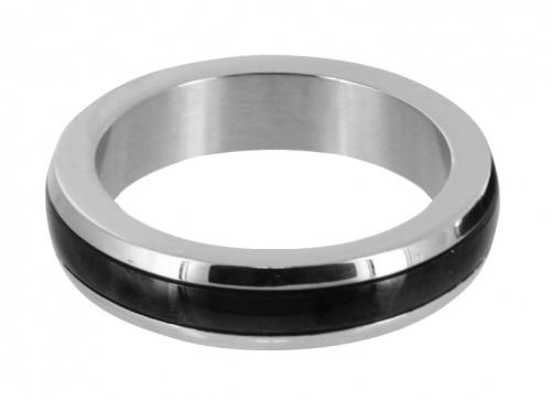 Chrome Stainless Steel Cock Ring with Black Band - Xr-AB737