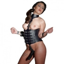 Leather Harness with Dildo - Or-2000768