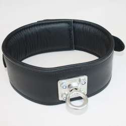 Black Leather Collar with rotating stainless steel ring - os-0100-1s-h