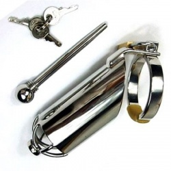 Steel Chastity Cage with Urethral Stretching Penis Plug - bhs-196