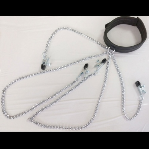 Collar with nipple clamps and labia clamps - Os-0100-clamps