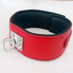 Padded Red Leather Collar with strong rotating ring - os-0100-1r-h