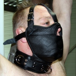 Leather headharnessmask with gag and collar - os-0517