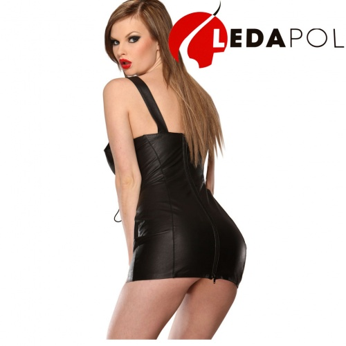 Black Leather Laced Minidress 5481 - le-5481-blk