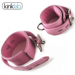Leather Lined Locking/Buckling Ankle Cuffs in Pink - fp-sr-j368