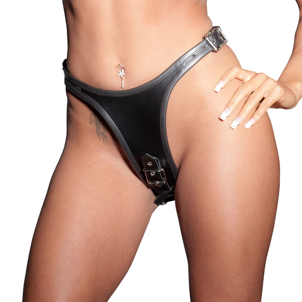 Leather Dildo G String With 2 Dildos Inside