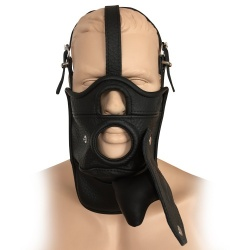Saxos Leather Mask With Removable Gag - os-0515