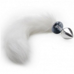 Metal Anal Plug Fox Tail White - bhs-276