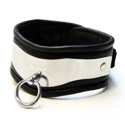Stainless Steel Collar 'Wave' (Black Leather) by Masters in Steel - mis-hb-wave/b