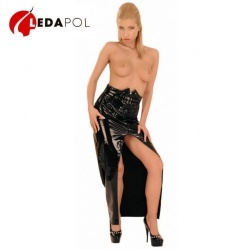 Vinyl PVC Skirt with Belt size UK 10 - EU 38 - Le-1218-BLK-EU38