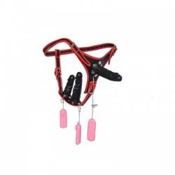 Vibrating Triple Dildo Strap-On - bhs-359