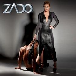 schwarzes Leder-Kleid mit 2-Wege-Zip - or-2000830