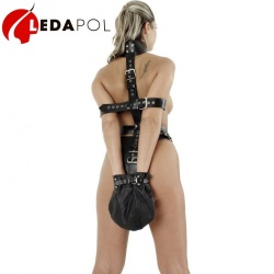 Leather bondage harness 5393 - le-5393-blk