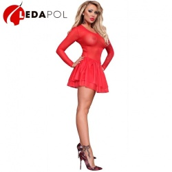 Long sleeve Fishnet Mini Dress 3232 - Le-3232-RED