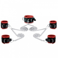 Leather Bondage Set Red - os-0105-2r