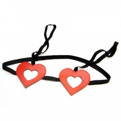 Saxos Leather Hearts Bra & Thong  - os-mi090