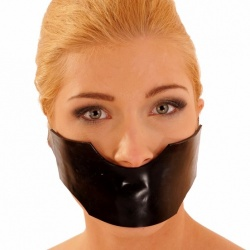 Latex Mask with Bite Gag - AB4330-BLK
