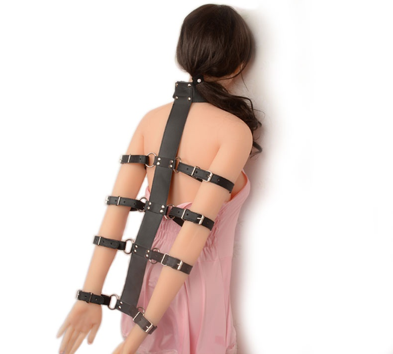 Casually found arm and neck bondage restraints