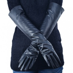 Faux Leather Long Gloves - mae-cl-002