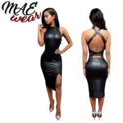 Black Backless Wetlook Dress - mae-CL-006