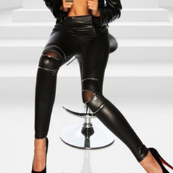 Black Wetlook Zipper Leggings - mae-CL-007