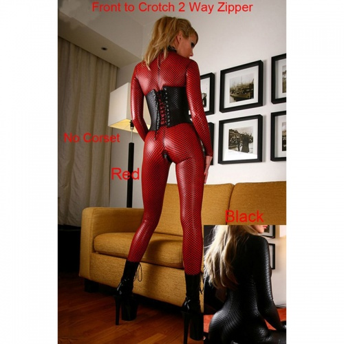 Spandex Zwart & Rood Textuur Catsuit - mae-cl-008-red