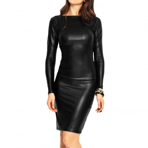 Black Wetlook Reversible Dress - mae-cl-010