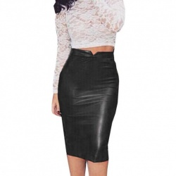 Solid Black leather look pencil skirt - mae-cl-013bl