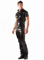 Black Vinyl Male Polo Top  - hr-h1152.blk