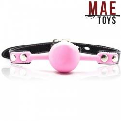 MAE-Toys Pink Silicone lockable ballgag - MAE-SM-182Pnk-L