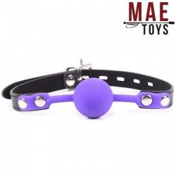 MAE-Toys Purple Silicone lockable ballgag - MAE-SM-182pur-l