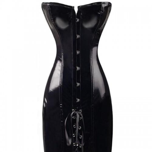 Black PVC corset Dress