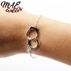Silver Plated Handcuffs Bracelet - mae-cl-024