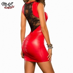 Rood Kant en Wetlook Mini Jurk - mae-CL-011R